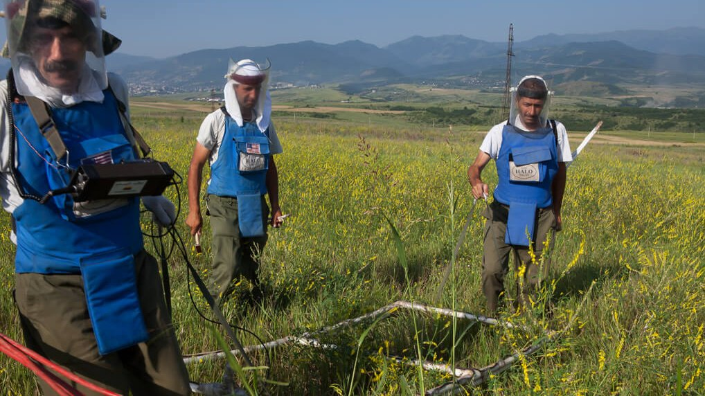 Three members of the team in Nagorno Karabakh
