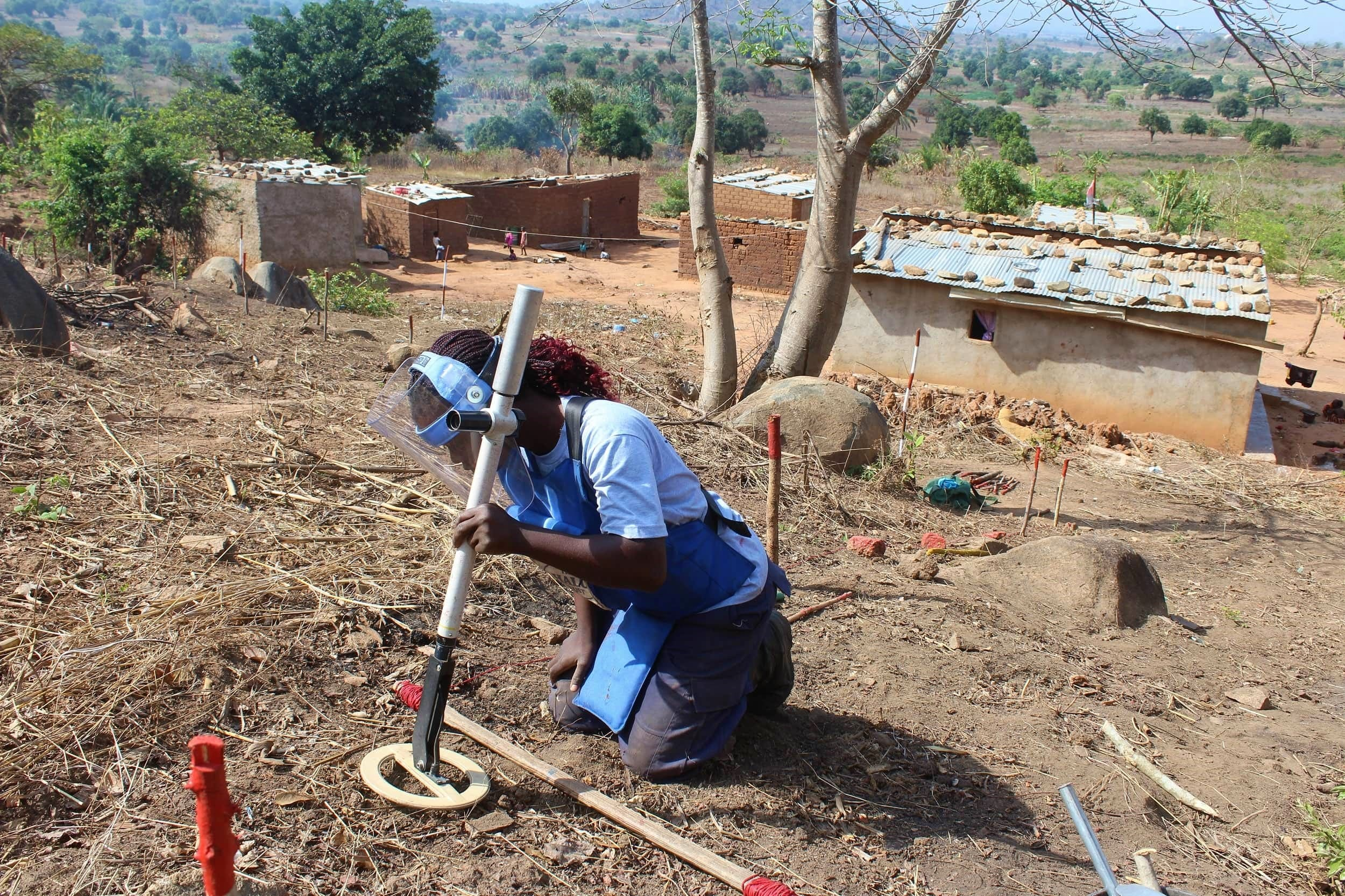 Women working as deminers for a mine-free Angola